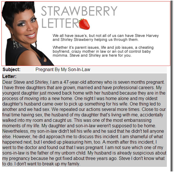 Steve Harvey Strawberry Letter Features Woman Who Had Sex with Two Son-in-Laws, Now Pregnant